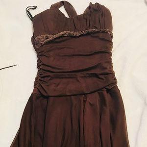 Short Cute Formal Brown Dress